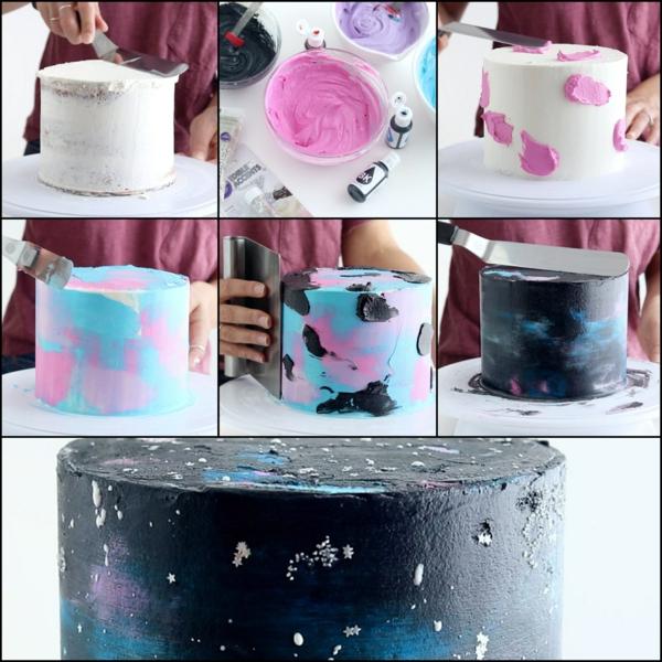 préparer le gâteau galaxie au glaçage miroir blanc noir rose et bleu