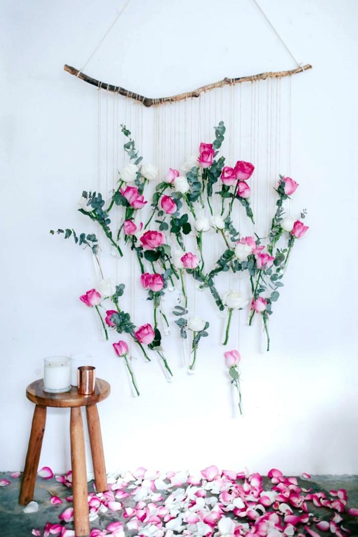 projet diy avec des fleurs artificiellesdéco chambre romantique