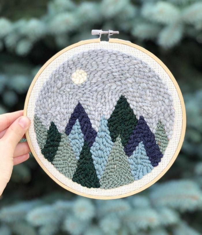 punch needle tuto motif montagne