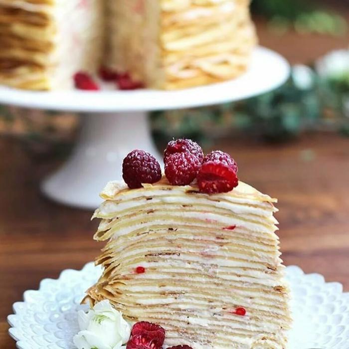 recette gâteau de crêpes au mascarpone et framboises