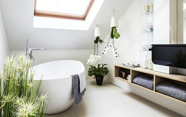 salle de bain sous comble style romantique murs blancs plantes vivantes