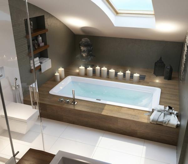 salle de bains sous comble style romantique sol blanc baignoire sous sol