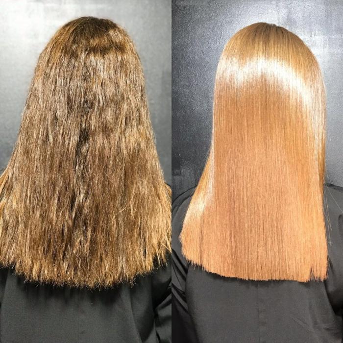 soin kératine cheveux hydratés