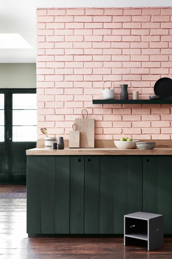 tendances 2020 crédence cuisine briques roses