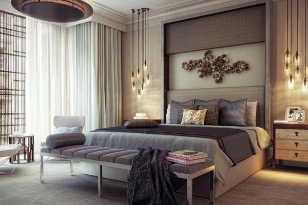 tendances chambre 2020 éclairage design lit avec banc