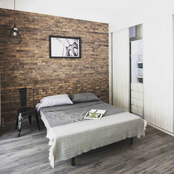 tendances chambre 2020 couleurs neutres papier peint imitation briques