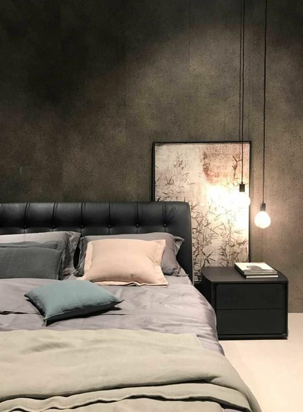 tendances chambre 2020 linge de lit en couleurs pastels tête de lit en cuir noir capitonné