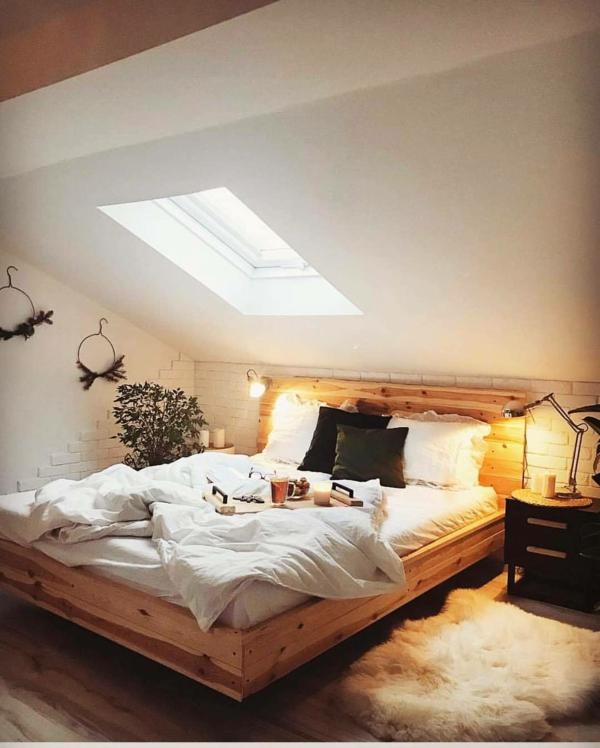 tendances chambre 2020 lit en bois massif murs blancs