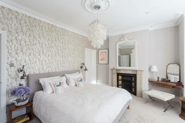 tendances chambre 2020 murs en couleur crème linge de lit en blanc lustre design