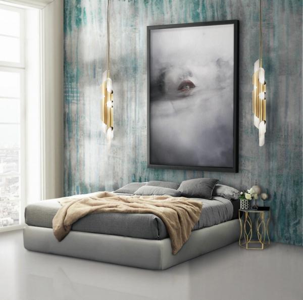 tendances chambre 2020 peinture murale effet rouillé lampes avec finition or