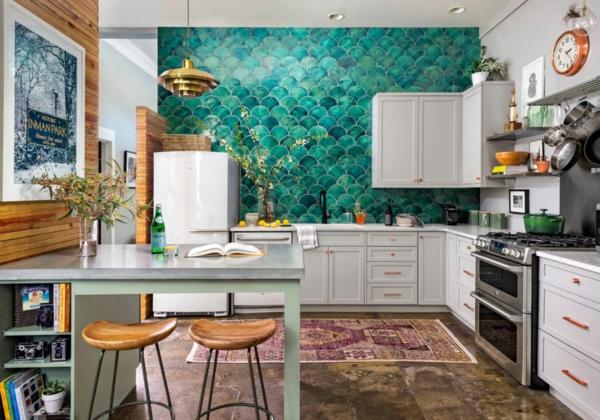 tendances crédence cuisine 2020 couleurs vives