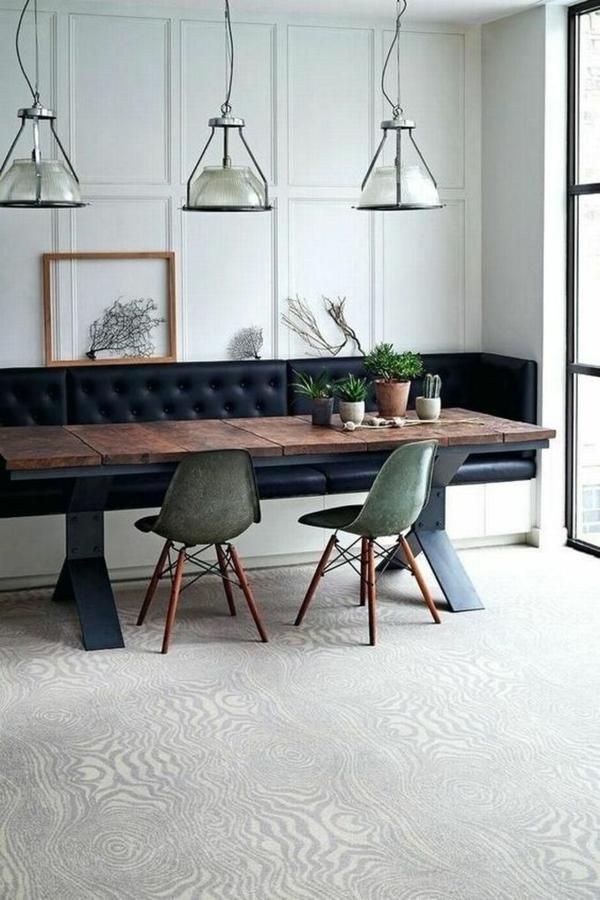 Tendances salle à manger 2020 banc en cuir intégré avec rangement