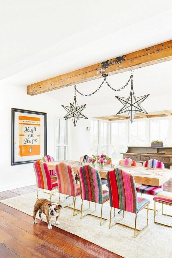 Tendances salle à manger 2020 chaises colorées lustres industriels