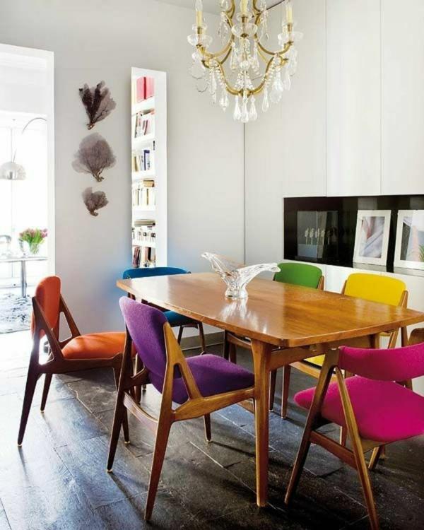Tendances salle à manger 2020 chaises colorées