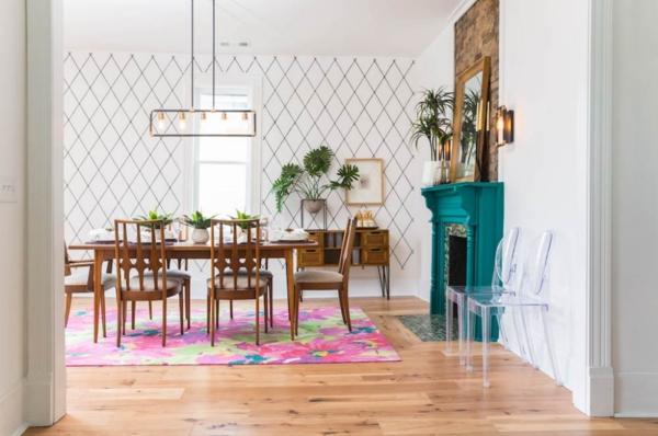 Tendances salle à manger 2020 papier peint graphique tapis coloré
