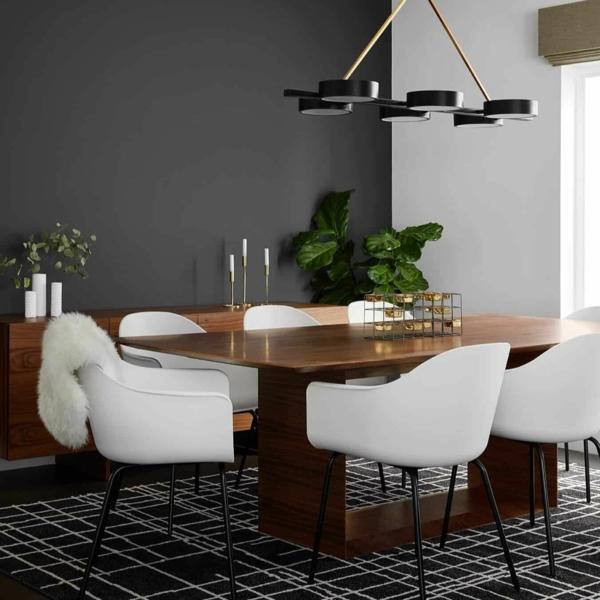 Tendances salle à manger 2020 tapis graphique luminaire design