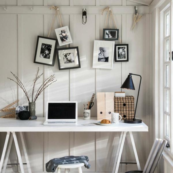 aménagement coin bureau murs blancs