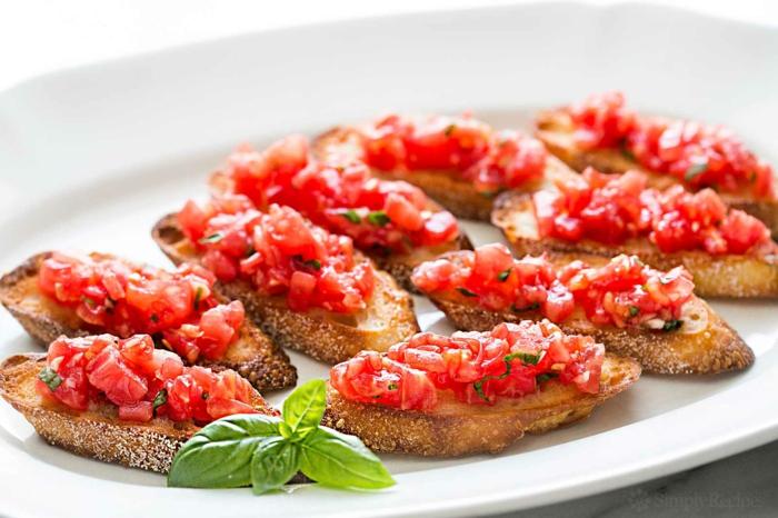 bruschettas aux tomates et basilic brunch de pâques