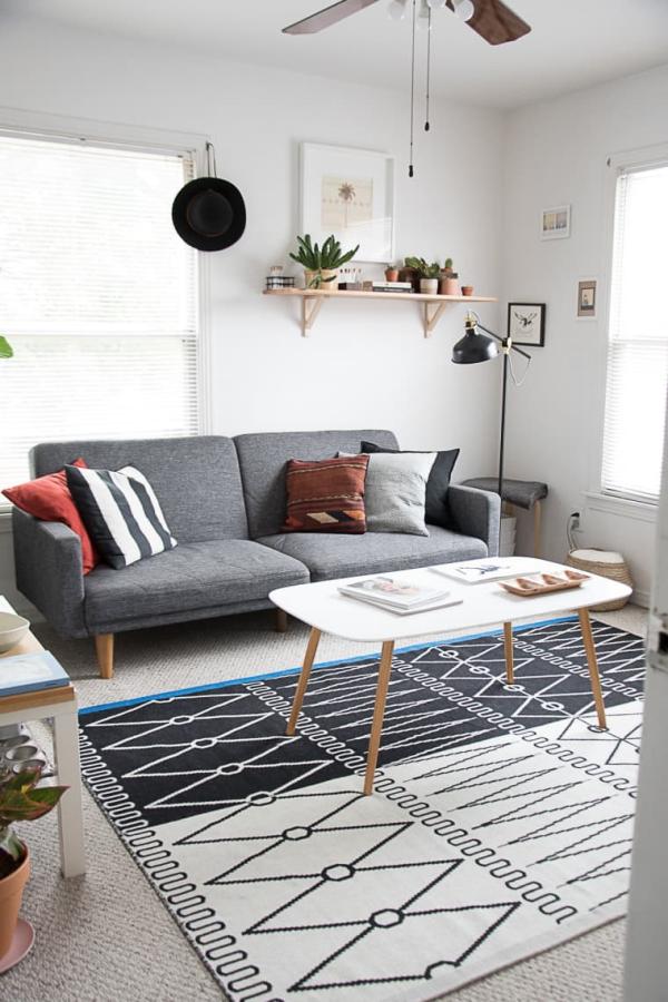 déco petit appartement un tapis graphique