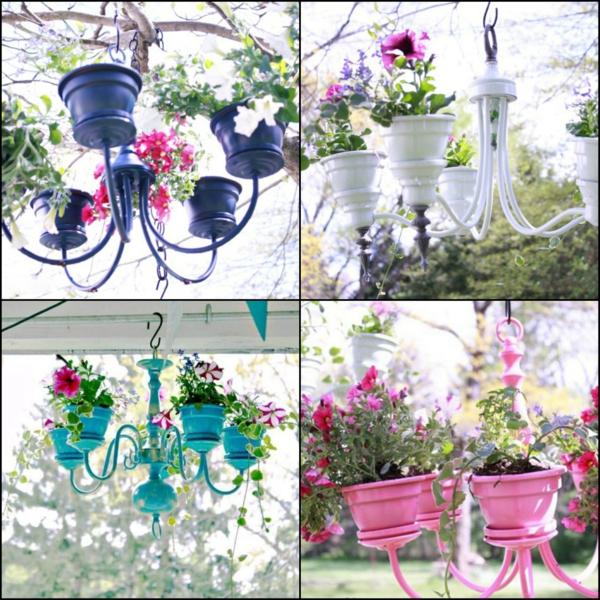 fabriquer une jardinière originale à partir d'un ancien lustre modèles différents