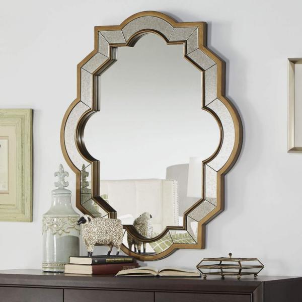 miroir décoratif mural de forme hexagonale
