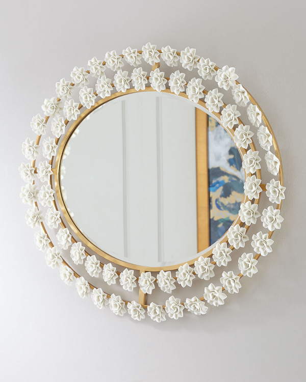 miroir décoratif mural des cerceaux en bois