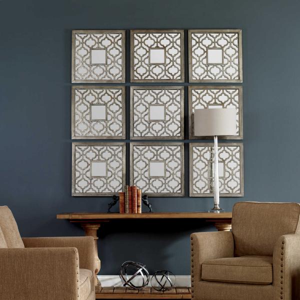 miroir décoratif mural en neuf parties