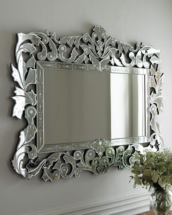 miroir décoratif mural ornements floraux