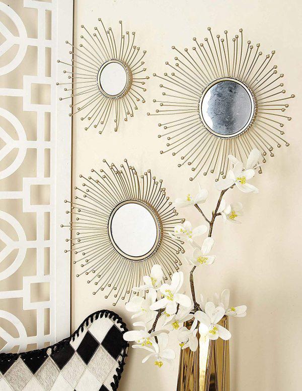 miroir décoratif mural rayons finissant de petites boules