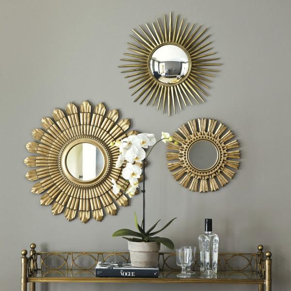 miroir décoratif mural trois miroirs soleils