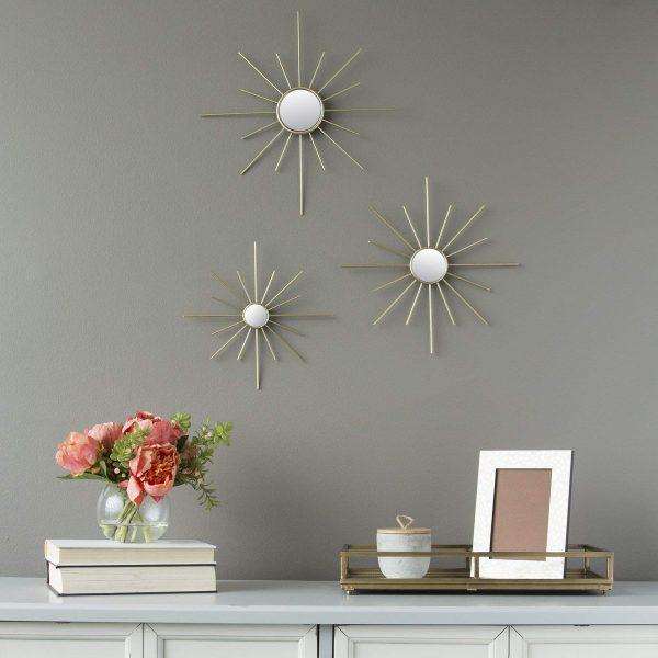 miroir décoratif mural trois petits soleils