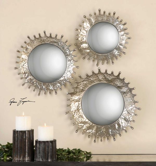 miroir décoratif mural trois soleils argentés