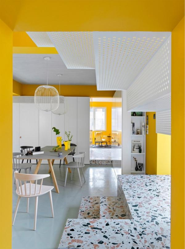 peinture appartement niveaux en deux couleurs