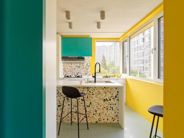peinture appartement turquoise et jaune