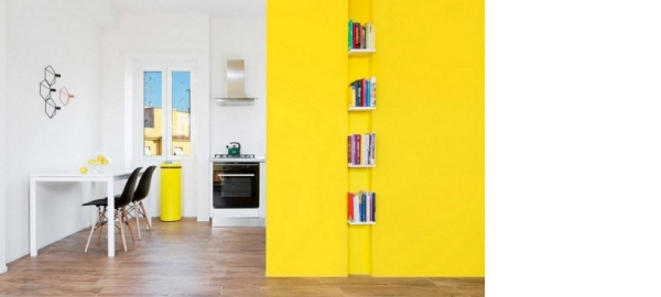 peinture appartement un mur jaune