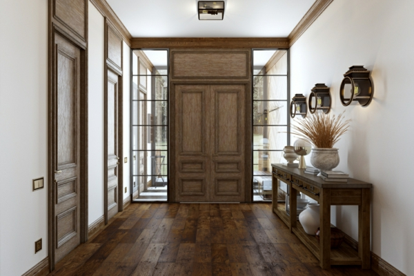 tendance déco 2020 entrée mobilier et décorations en matériaux naturels