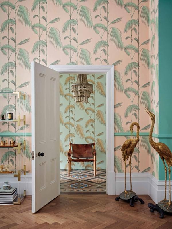 tendance déco 2020 hall d'entrée maximaliste papier peint feuilles de palmier