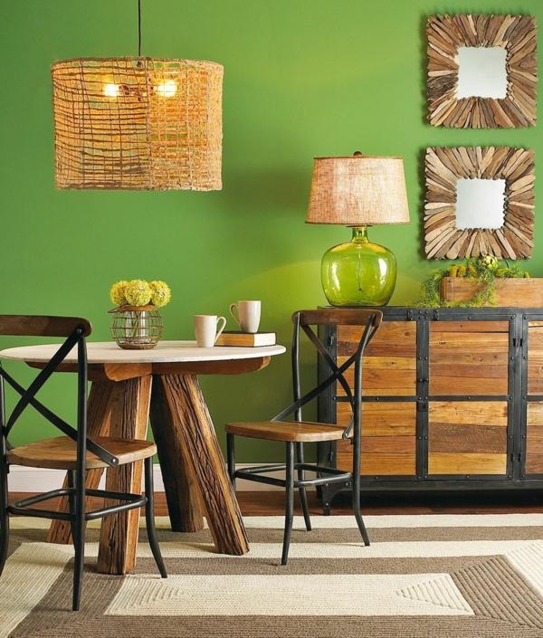 tendance déco intérieur biophilie salle à manger mobilier en bois peinture murale verte