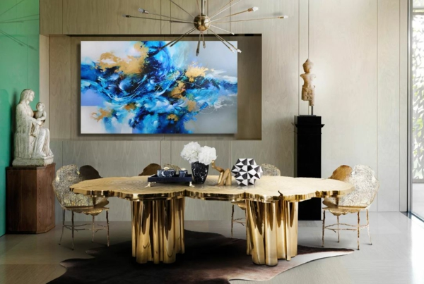 tendance déco intérieur biophilie salle à manger table imitation bois finition dorée