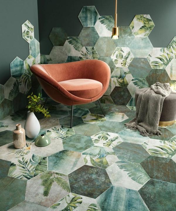 tendance déco intérieur biophilie salon carrelage hexagonal de sol aux motifs végétaux