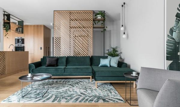 tendance déco intérieur biophilie salon et cusine mobilier en bois tapis aux motifs végétaux