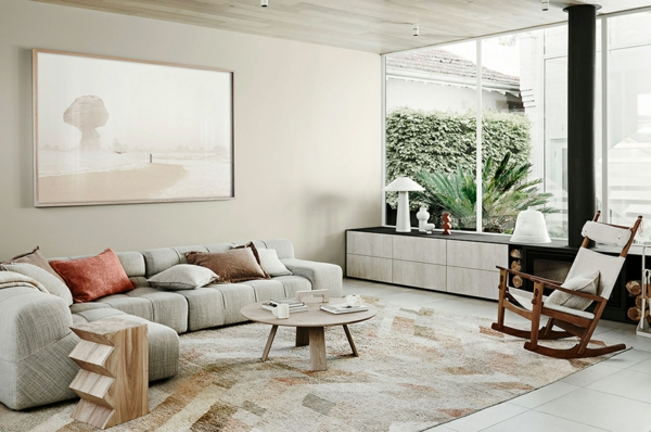 tendance déco intérieur biophilie salon fenêtres panoramiques vue jardin