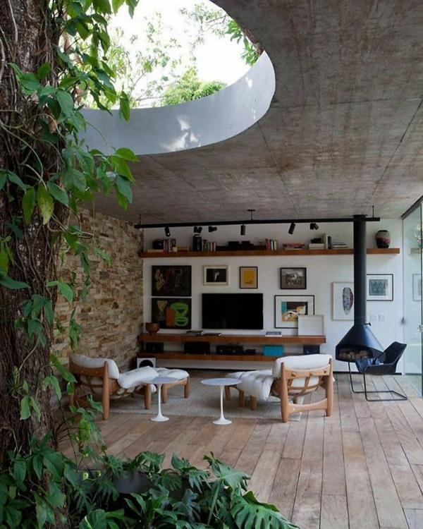 tendance déco intérieur biophilie salon mobilier en bois plafond ouvert
