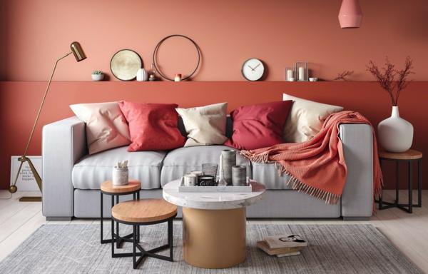 tendance déco intérieur biophilie salon mobilier en métal bois et marbre couleurs terrestres