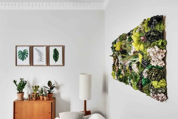 tendance déco intérieur biophilie salon panneau mural de mousse végétale plantes vivantes