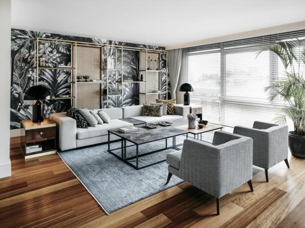 tendance déco intérieur biophilie salon papier peint aux motifs végétaux revêtement mobilier en matières naturelles
