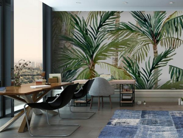 tendance déco intérieur cabinet papier peint aux motifs végétaux