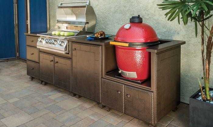 aménagement cuisine d'été extérieur barbecue kamado
