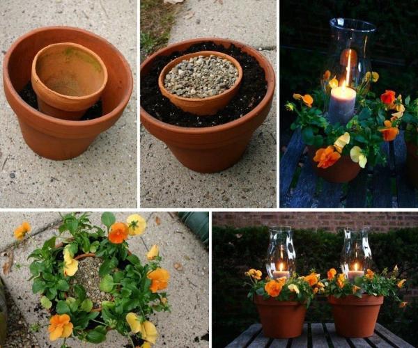 bricolage jardin avec des pots en terre cuite bougeoir