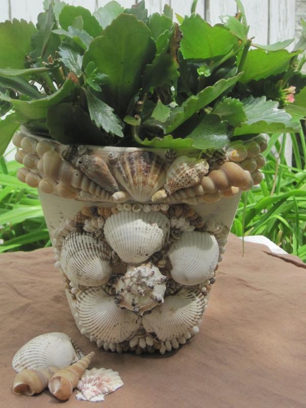 bricolage jardin avec des pots en terre cuite et coquillage